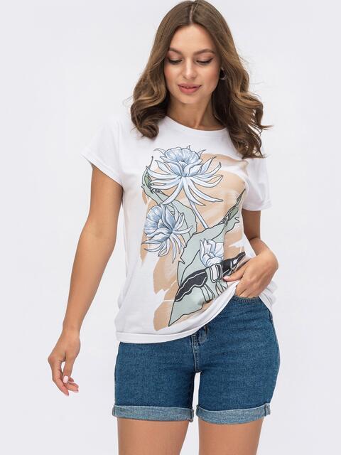 Белая футболка из вискозы с авторским принтом 54167, фото 1