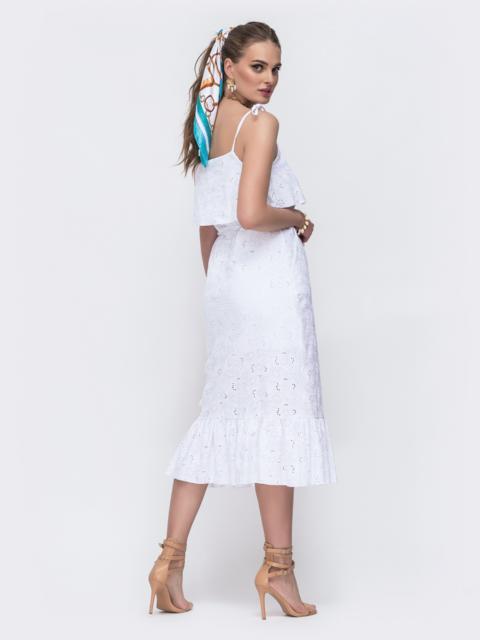 Белый сарафан из прошвы с воланом по вырезу 48227, фото 3