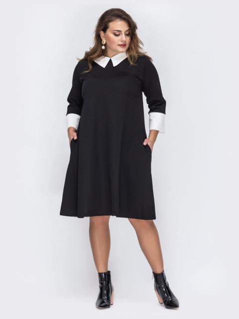 Чёрное платье большого размера с контрастным воротником 44037, фото 1