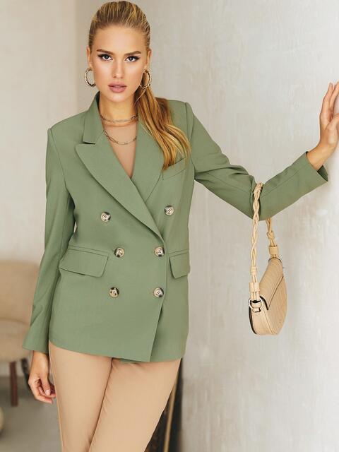 Двубортный пиджак из костюмной ткани зеленого цвета 54658, фото 2