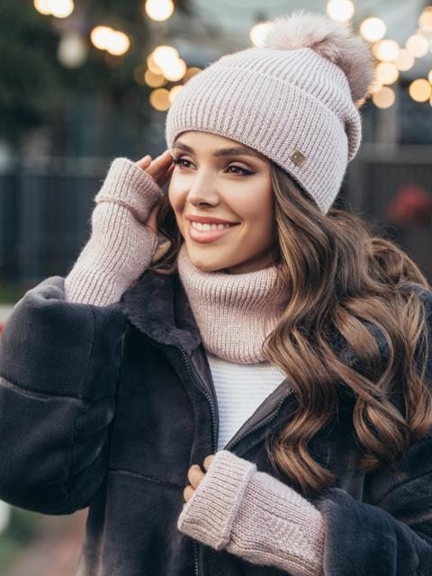 Зимний комплект-тройка с шапкой и хомутом пудровый 51125, фото 1