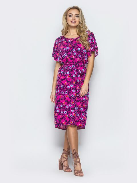 Хлопковое платье свободного кроя пестрой расцветки 12561, фото 1