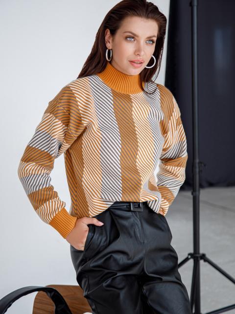 Оранжевый свитер со спущенной линией плечевого шва 51446, фото 1