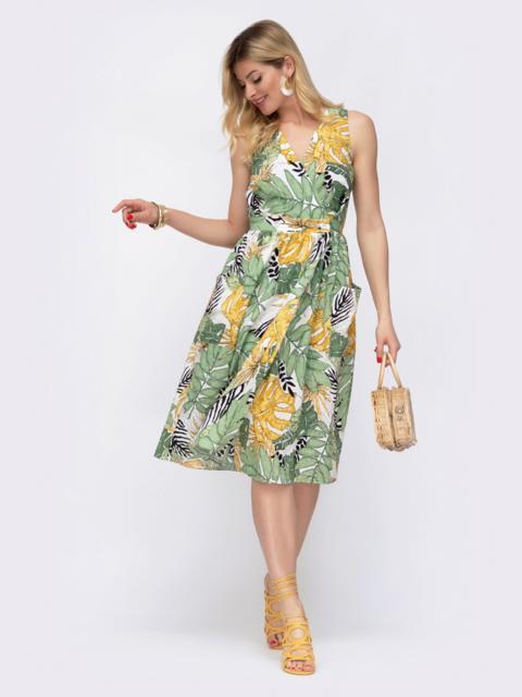 Принтованное платье на запах с отрезом по талии 48038, фото 1