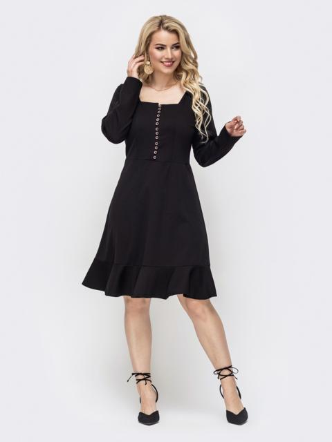 Расклешенное платье батал с квадратным вырезом чёрное 50871, фото 1