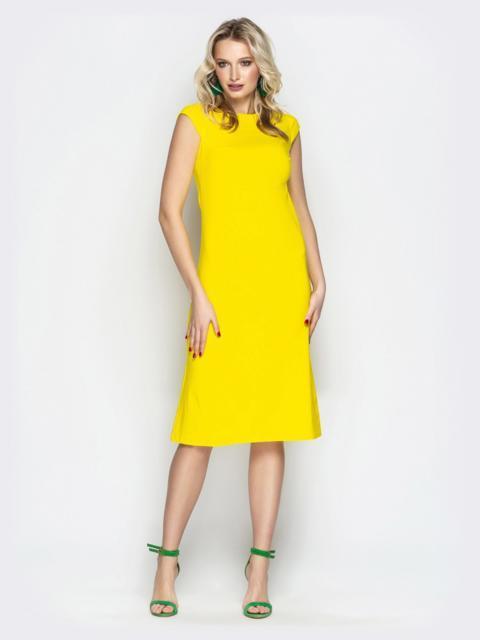 """Жёлтое платье приталенного кроя с рукавом """"крылышко"""" 20654, фото 1"""