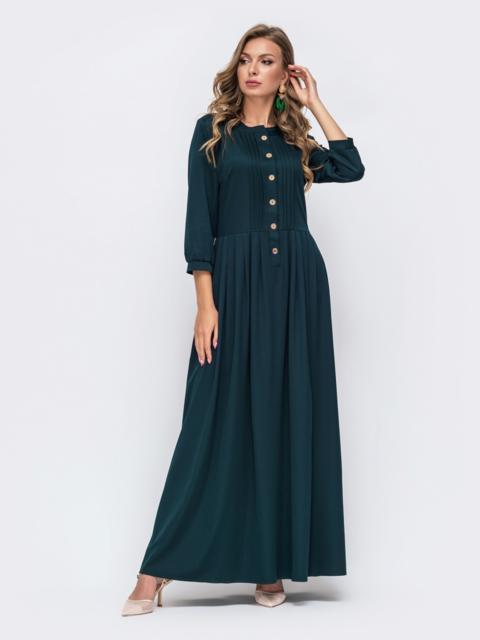 Платье-макси зелёного цвета с пуговицами по полочке  50333, фото 1