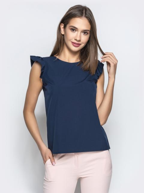 """Синяя блузка прямого кроя с рукавом """"крылышко"""" 21500, фото 1"""