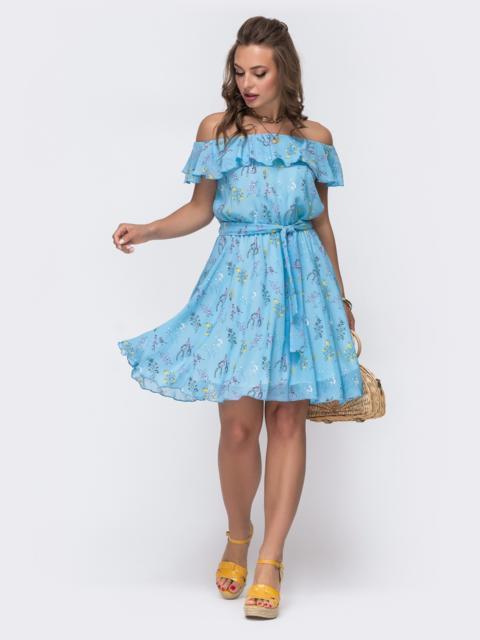 Голубое принтованное платье с открытыми плечами 48543, фото 1