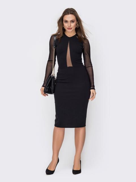 Обтягивающее платье со вставками из сетки черное 52613, фото 1