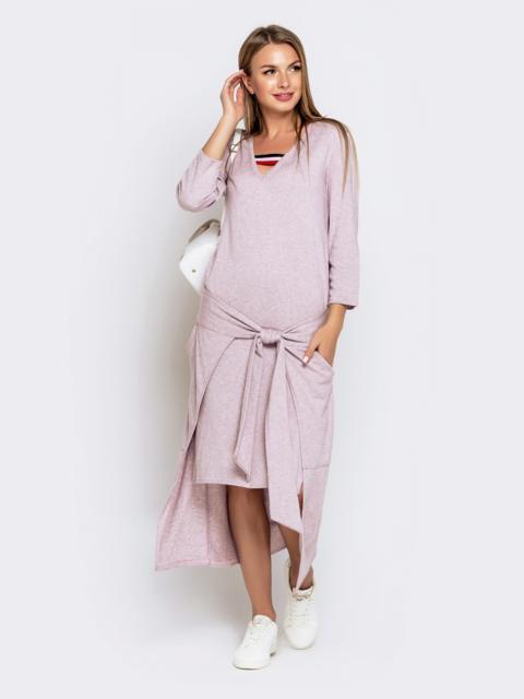 Платье со шлейфом и накладными карманами пудровое 41030, фото 1