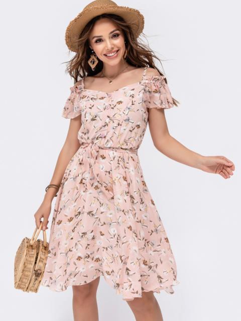 Розовое принтованное платье с открытыми плечами 48545, фото 1