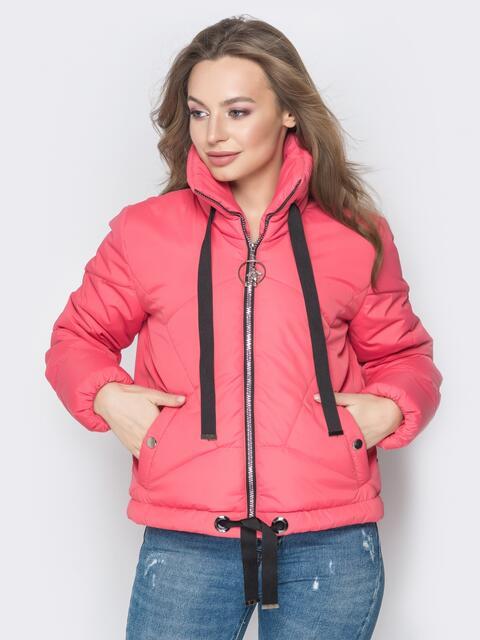 Укороченная куртка с карманами на кнопках красная 20071, фото 1