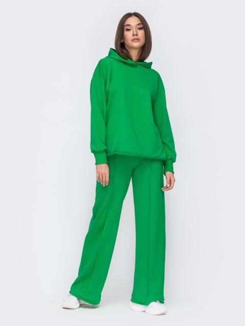 Зеленый костюм с худи и брюками на резинке 53490, фото 1