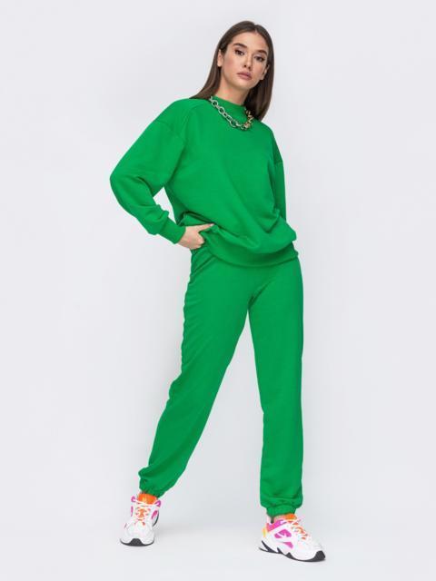 Зеленый костюм со свитшотом и джоггерами на резинке 53493, фото 1