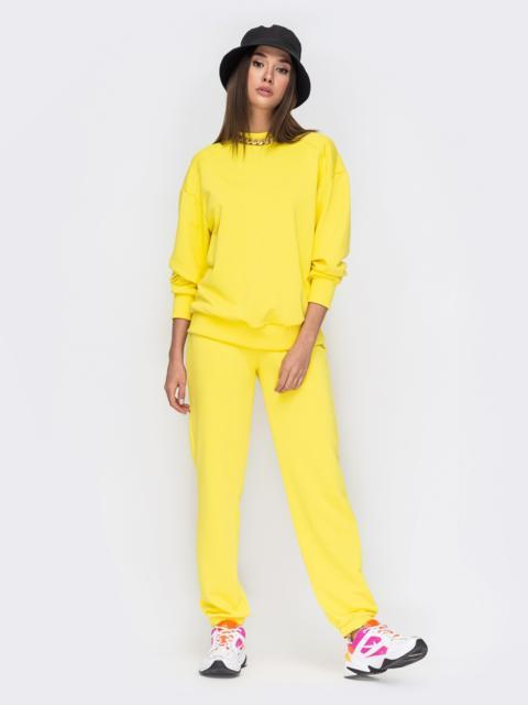 Желтый костюм со свитшотом и джоггерами на резинке 53492, фото 1