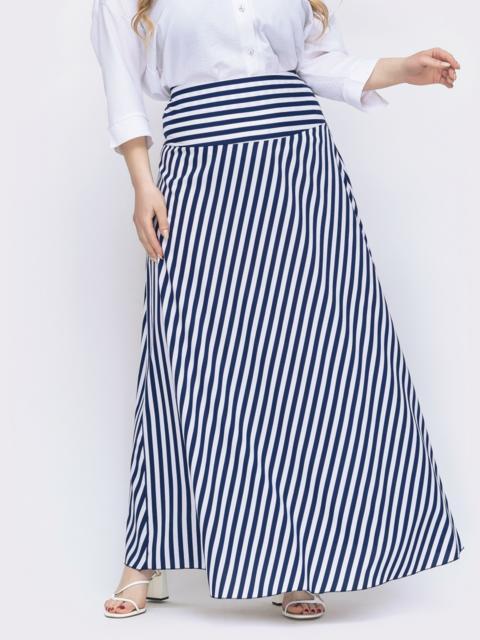 Длинная юбка большого размера в тёмно-синюю полоску 46496, фото 1