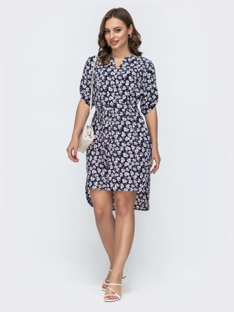 Темно-синее платье свободного кроя с принтом 46950, фото 1