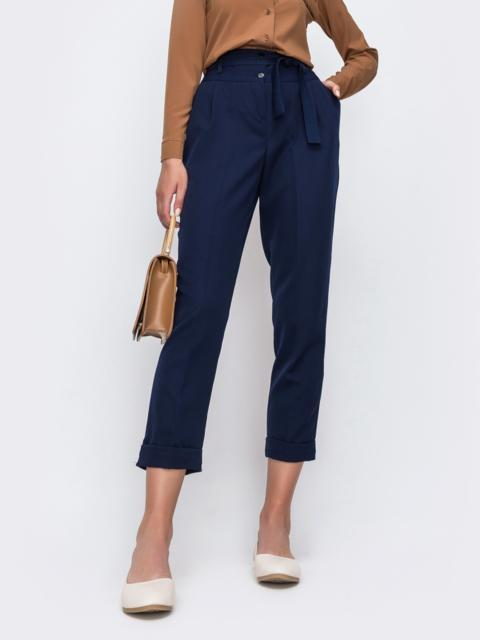 Тёмно синие укороченные брюки с подворотами 48674, фото 1