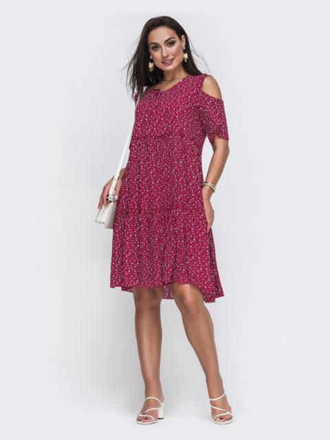 Бордовое платье батал с принтом и открытыми плечами 49589, фото 1