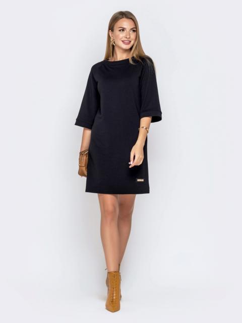 Чёрное платье из двунитки с рукавом-реглан 40684, фото 1