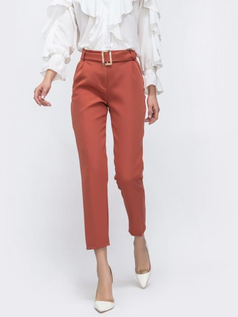 Укороченные брюки терракотового цвета с поясом 45626, фото 1