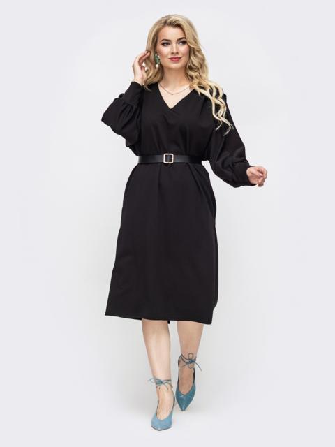 Чёрное платье батал с V-образным вырезом 50874, фото 1