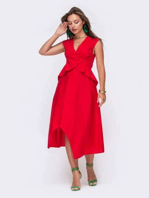 Красное платье-миди с асимметричным низом 49429, фото 1