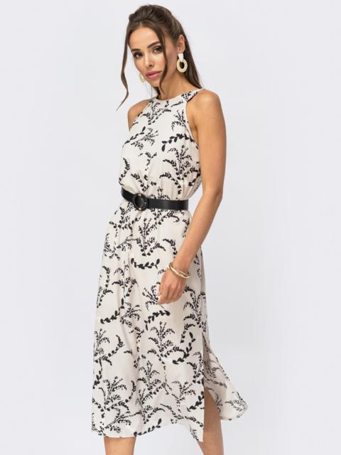 Платье бежевого цвета с трикотажной подкладкой 53914, фото 1