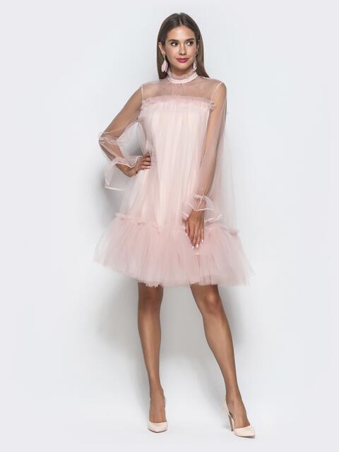 Пудровое платье-трапеция из фатина с воланом по низу 40121, фото 1