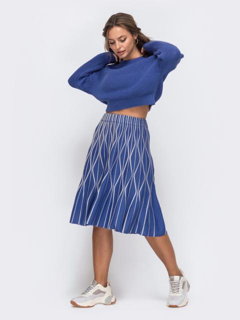 Синий комплект с расклешенной юбкой с узором 50444, фото 1