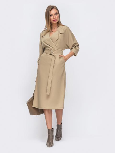 Бежевое платье с лацканами и цельнокроеным рукавом 50818, фото 1