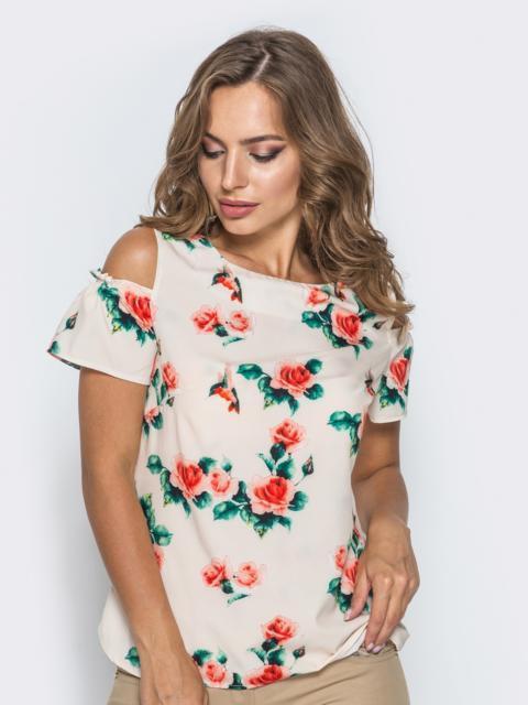 Розовая блузка в цветочный принт с открытыми плечами 14035, фото 1