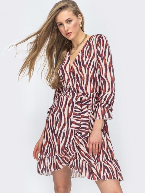 Шифоновое платье на запах с принтом цвета бордовое 45428, фото 1