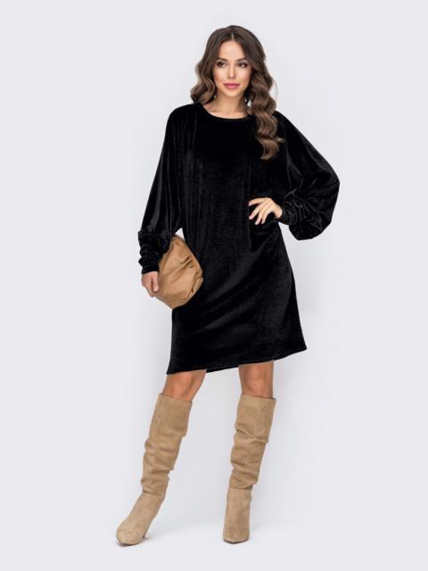 """Вельветовое платье-миди с рукавом """"летучая мышь"""" чёрный 52297, фото 1"""