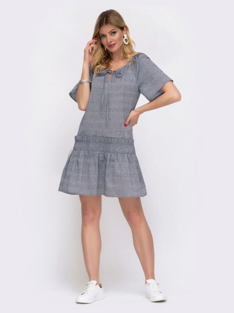 Льняное платье синего цвета с воланом по низу 48035, фото 1