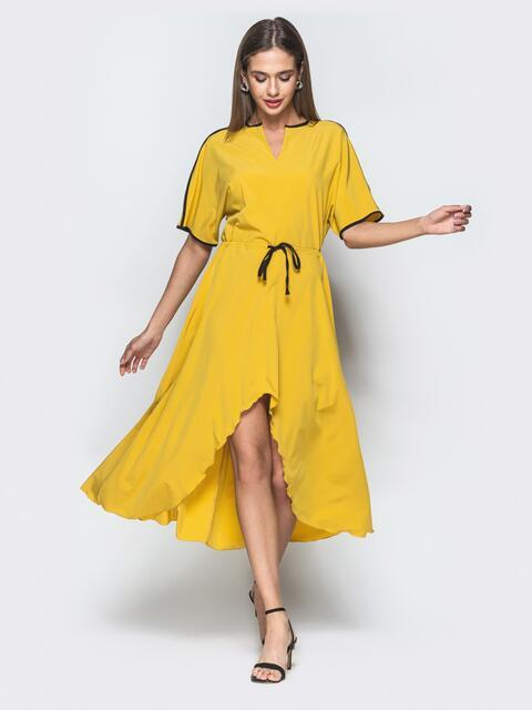 Платье горчичного цвета с кулиской по талии 38933, фото 1