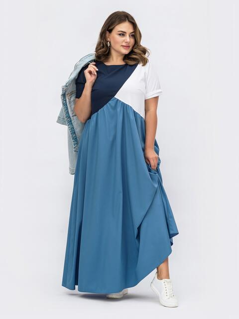 Голубое платье большого размера с защипами на полочке 54073, фото 1