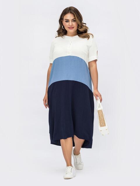 Синее платье большого размера с пуговицами на лифе 54074, фото 1