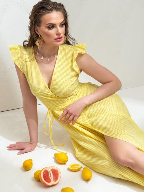 Длинное платье на запах из льна в клетку желтое 47266, фото 3