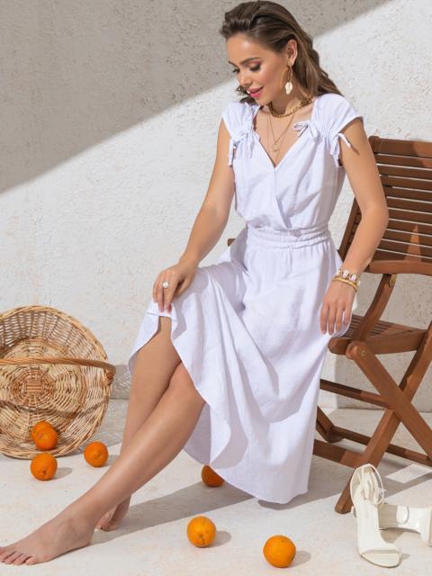 Платье белого цвета с расклешенной юбкой 49147, фото 1