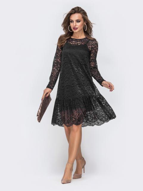 Платье из гипюра с воланом по низу чёрное 42889, фото 1