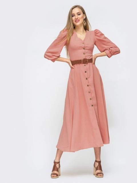Платье на пуговицах с объёмными рукавами розовое 45717, фото 1