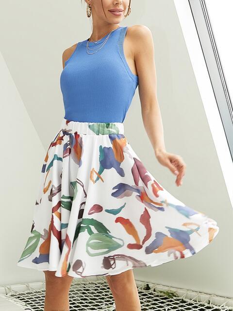 Шифоновая юбка-мини с абстрактным принтом белая 53885, фото 1