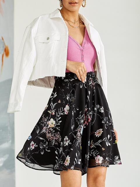 Шифоновая юбка-мини с цветочным принтом черная 53881, фото 1