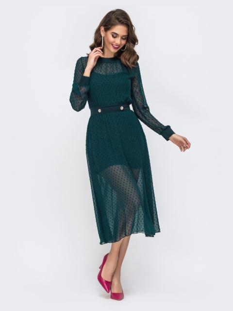 Шифоновое платье в горох с комбинацией тёмно-зелёное 42875, фото 1