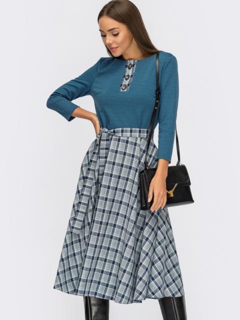 Синее платье с расклешенной юбкой в клетку 54816, фото 1