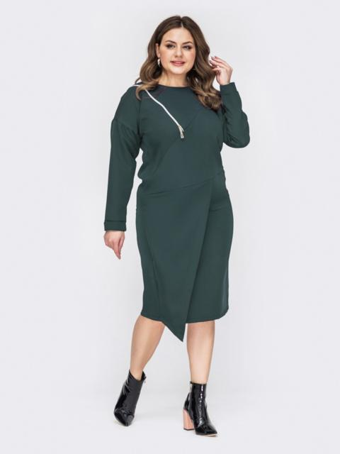 Зеленое платье батал с декоративной молнией 53198, фото 1