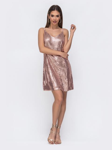 Платье на бретелях с пайетками и вырезом по спинке розовое 43005, фото 1