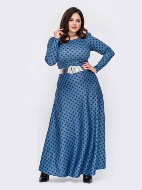 Длинное платье большого размера в горох голубое 52771, фото 1